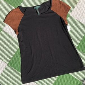 Ralph Lauren Petite w/ faux leather capped sleeve